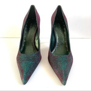 BCBGirls Green Purple Iridescent Sparkle Heels
